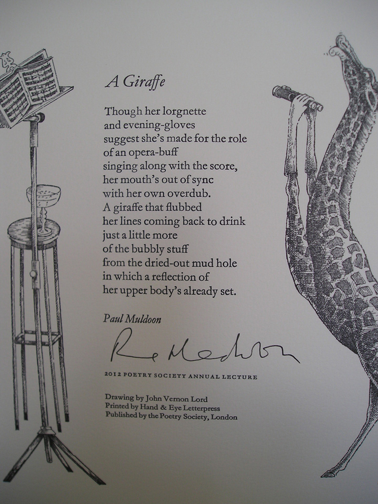 Giraffe Poem http://wordsunlimited.typepad.com/words_unlimited/2012/07/muldoon-on-song-v-poem.html